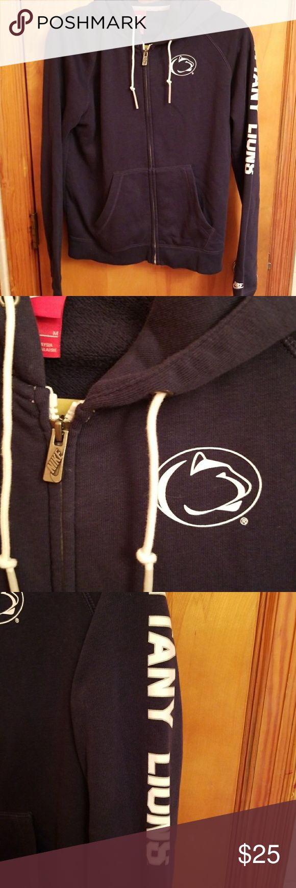 Penn State Jacket Size M NWOT Navy zip up jacket with hood Nike brand PSU logo 2 front pickets 80% Cotton 20% Polyester  Machine wash cold tumble dry low  Price firm unless bundle  Never worn! Nike Jackets & Coats
