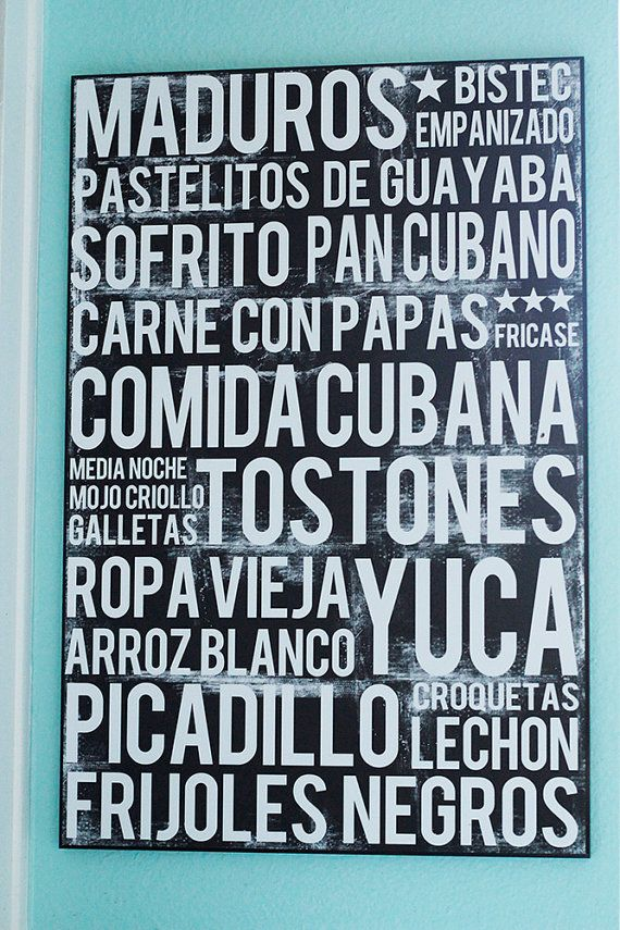 Cuban Food Poster - or Comida Cubana Subway Art. Your favorite Cuban foods in one elegant food word art poster. **UNFRAMED PRINT** Poster printed on high quality, heavy duty photo stock.  SIZES 11 x 14 16x 20 20 x 30 BACKGROUND COLOR Black   LETTERING White with some distressing for an aged texture.  DETAILS • Listing is for one unframed print in variable sizes (FRAME AND MOUNTING NOT INCLUDED). • Heavyweight premium luster paper with archival fade-resistant inks.  SHIPPING • Printed to…