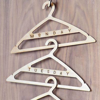 Wood Clothes Hangers, Custom Laser Engraving
