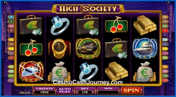 High Society is a 5-reel, 25 payline, Microgaming non progressive video slot machine. More this way... http://www.casinocashjourney.com/microgaming-slots/high-society.htm