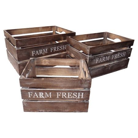 Brimming with farmers' market-inspired charm, these weathered wood crates feature a slatted design and typographic details. Use them to organize fresh produc...