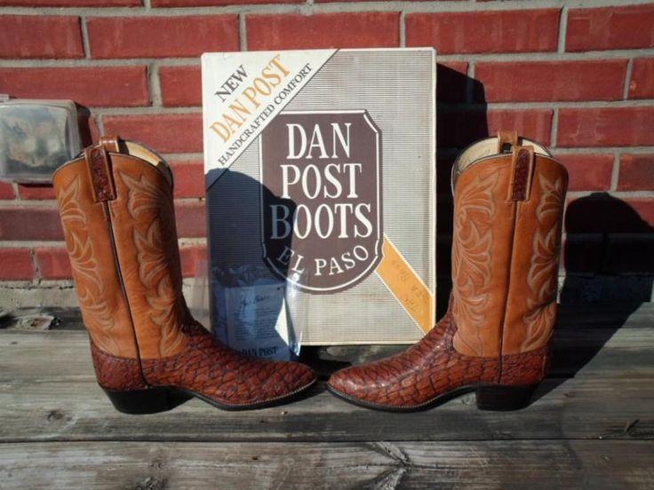 Vintage Dan Post Sea Bass Western Boots Honey Brown Size 9