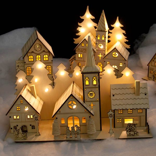 noma laser cut crafted wooden 12 white led indoor static church and two houses with illuminated - Lights For Christmas Village