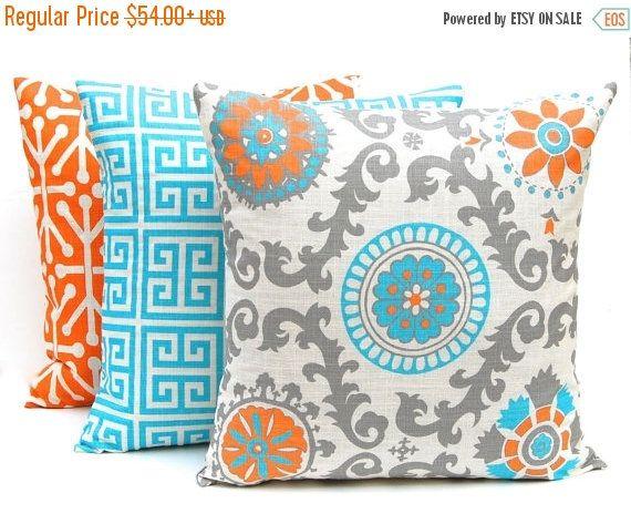 30% Off Sale Orange Throw Pillow Covers  Set of Three