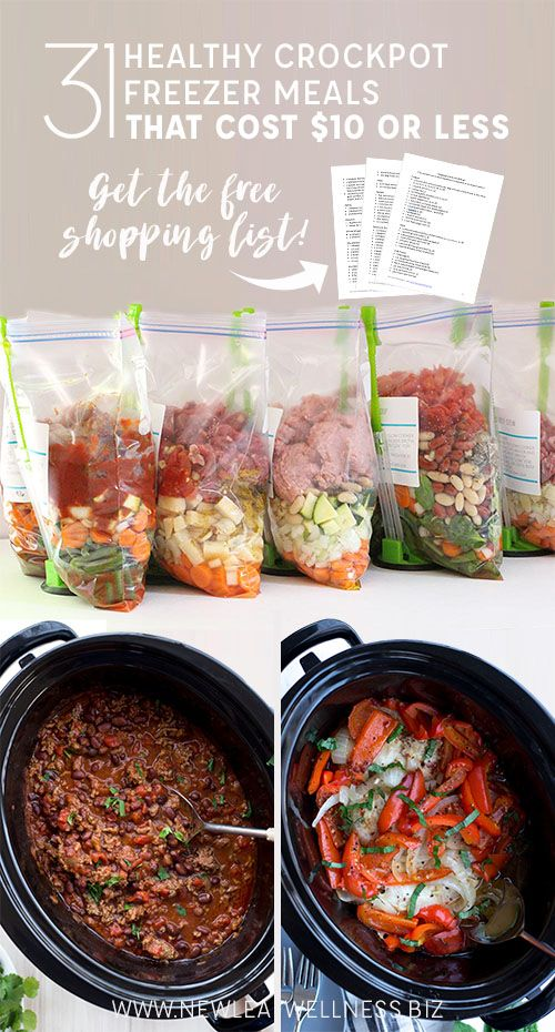 Kelly from New Leaf Wellness put together a list of 31 Healthy Crockpot Freezer Meals That Cost $10 or Less. Her free download includes 10 printable recipes and a printable shopping list. Psst! Looking for even more freezer cooking meals? Be sure …