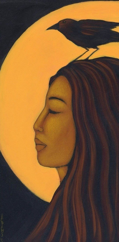 Woman and Raven Moon Goddess Ethnic Print of by goddessgallery
