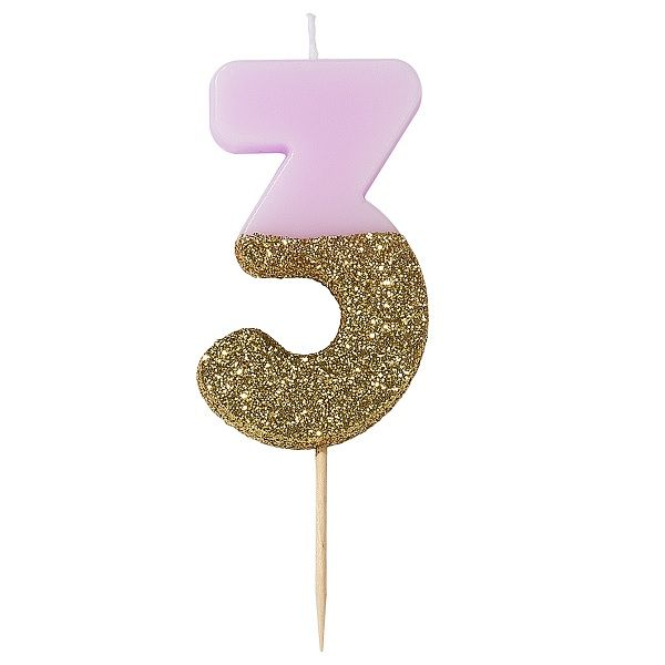 Geburtstags Deko pinke Kerze Zahl Torte Kuchen Party Zahlenkerze Nr 5 Pink