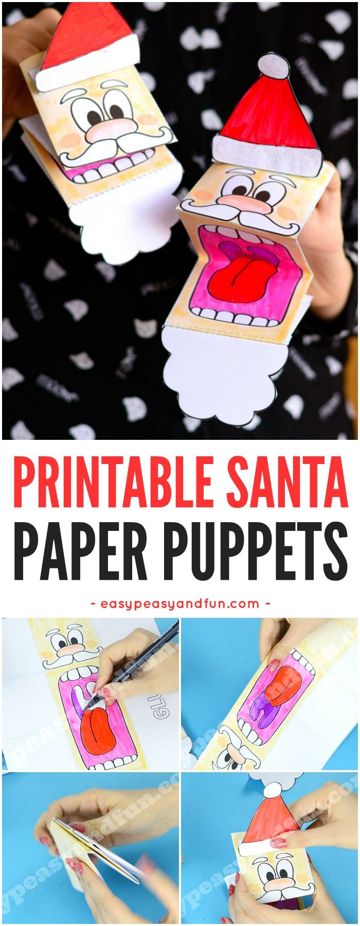 Printable Santa Paper Puppet Template. Fun Christmas craft activity for kids to make.