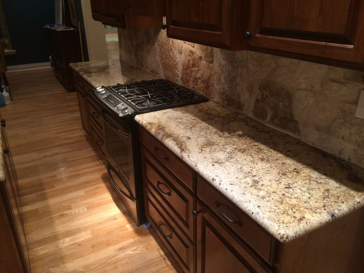 The Rock Backsplash Next To This Sienna Beige Granite Is