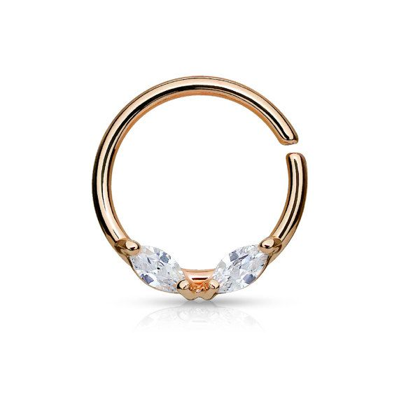 Rose Gold Septum Ring Rose Gold Daith Piercing Rook Earring Hoop