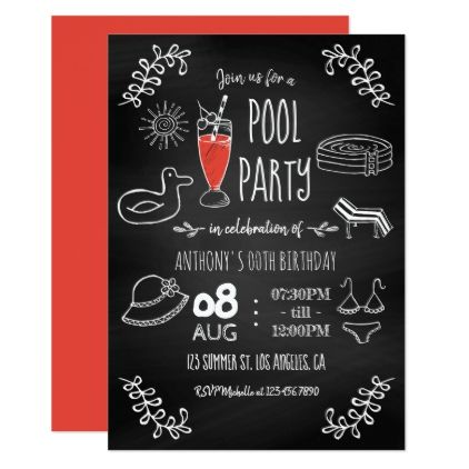 Chalkboard Summer Pool Birthday Party Invitation - fun gifts funny diy customize personal