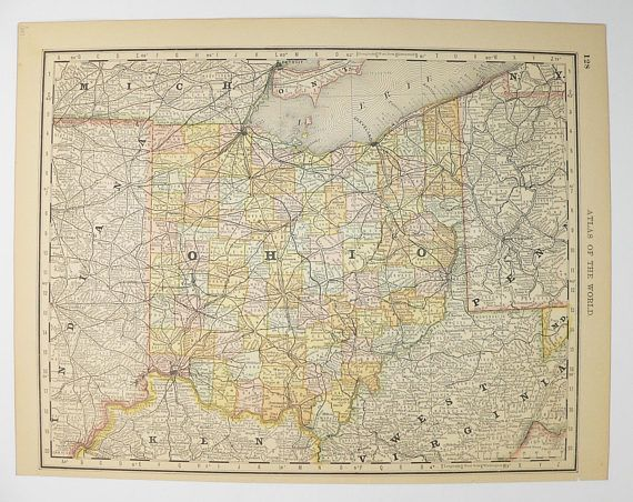 Antique Ohio Map 1887 Vintage OH Map of Ohio State, County Map, Vintage Ohio Gift for Him, Office Gift for Coworker, Ohio Anniversary Gift available from www.OldMapsandPrints.Etsy.com #Ohio #VintageOhioDecor #OriginalAntiqueMap #VintageDecor