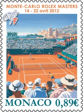Monte-Carlo Rolex Masters 2012 stamp. The Monaco Post has issued a stamp #tennis