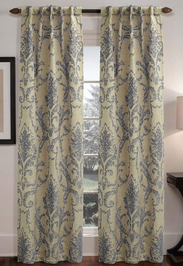 Rondo Damask Window Curtain Panel In 2020 Damask Curtains Curtains Custom Drapes