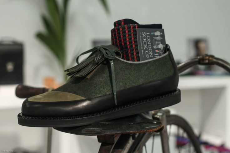 The Sky in green with Lanificio F.lli Cerruti textile with London Sock Co. at London Collections: Men Autumn 15