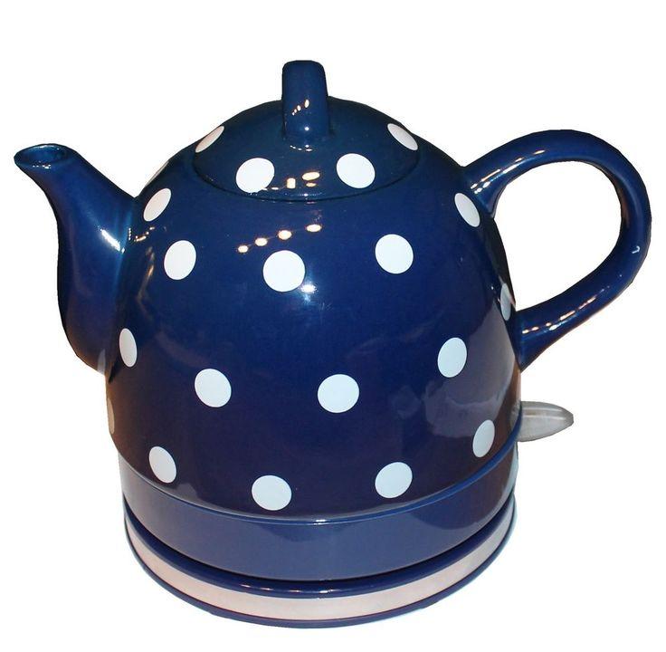 Details Zu Keramik Edelstahl Wasserkocher Retro Nostalgie 1 Liter Teekocher  Schnurlos