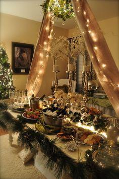 Christmas buffet table - Google Search