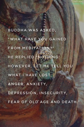 """Buddha was asked, """"What have you gained from meditation?""""  He replied, """"Nothing!  However, let me tell you what I have lost:  anger, anxiety, depression, insecurity, fear of old age and death."""""""
