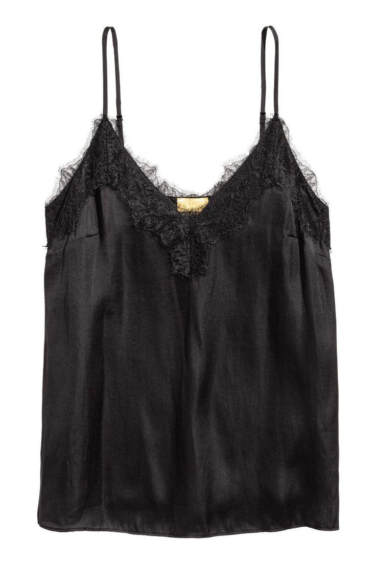 Satijnen straptop met kant - Zwart - | H&M NL 2