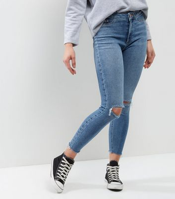 Petite Blue Ripped Knee Ankle Grazer Skinny Jeans