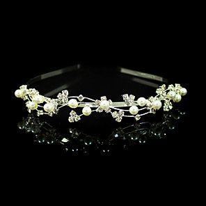 vackra klara kristaller med imitation pärla bröllop brud huvudband