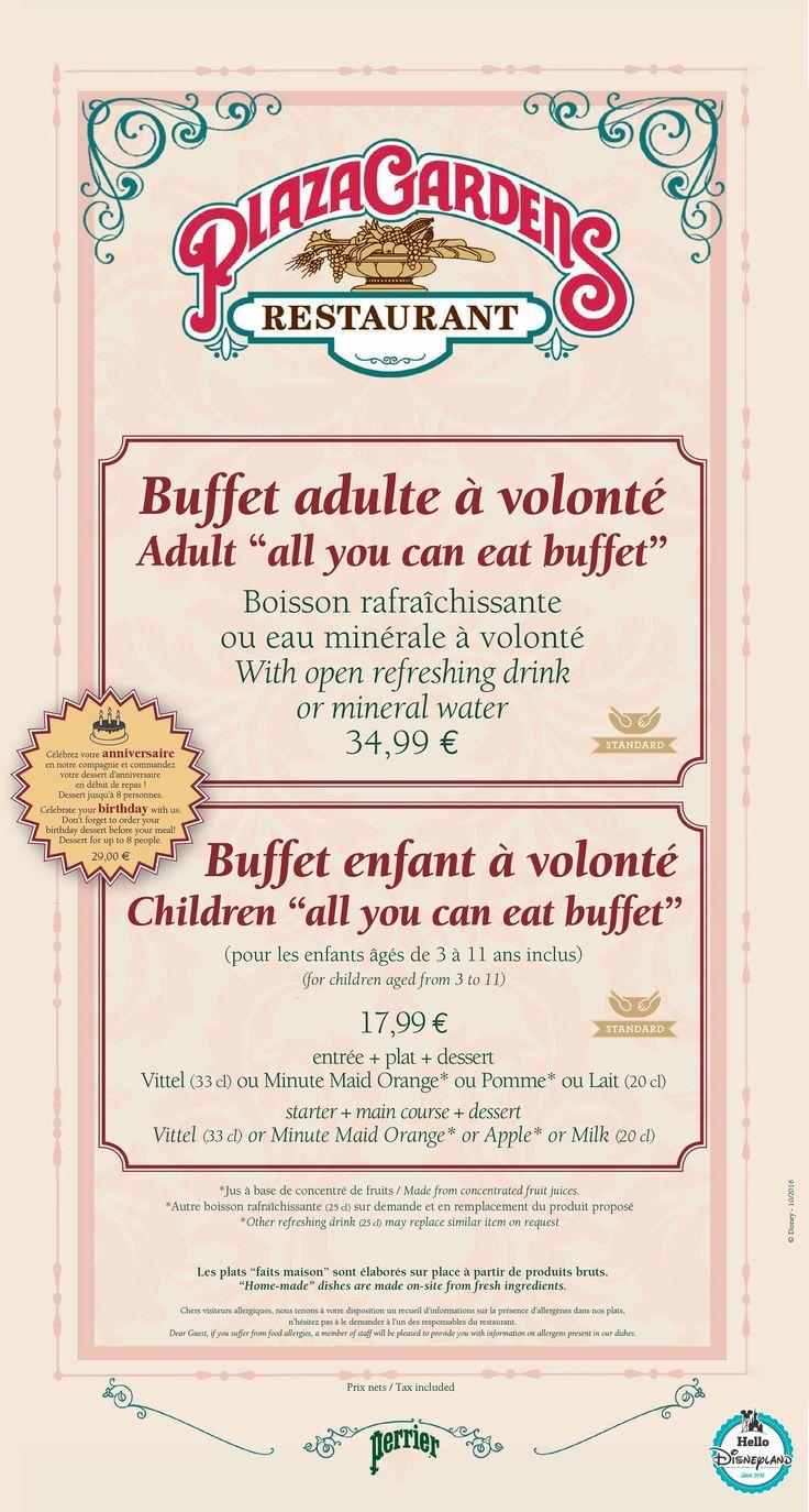 Plaza Garden - Menu Restaurant 2015 - 2016 Disneyland Paris