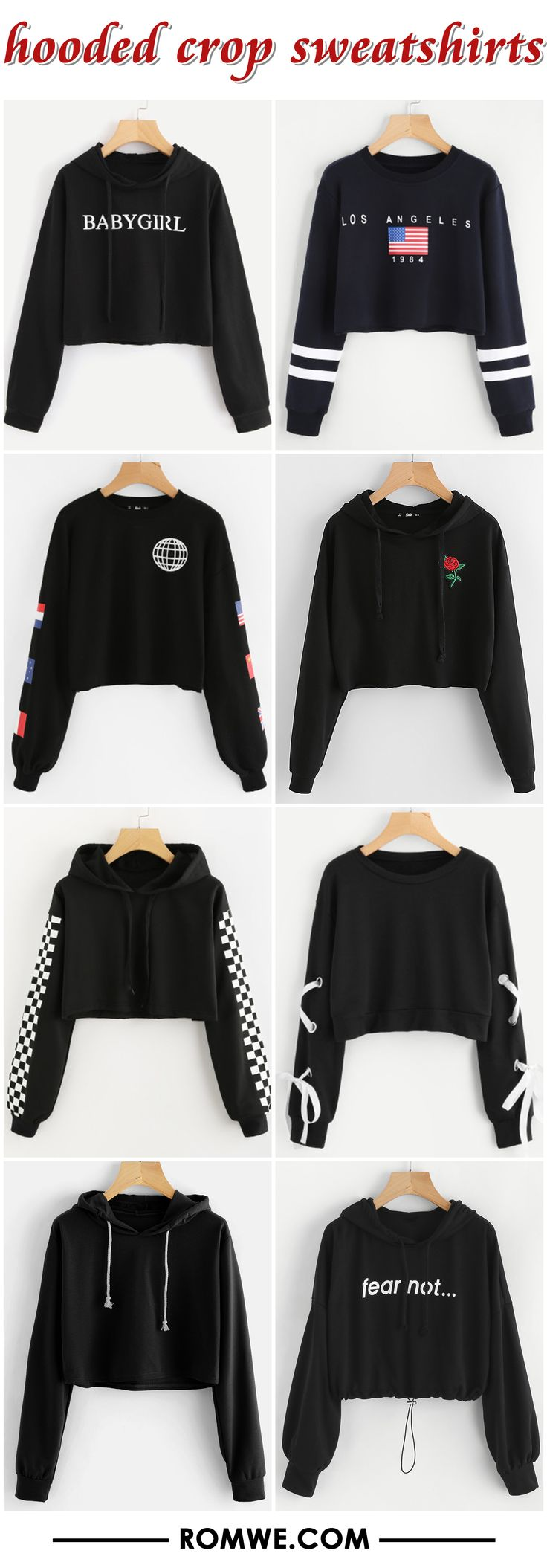 hooded crop sweatshirts from romwe.com