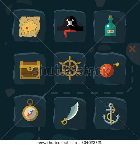 Vector color flat  icons set and illustrations pirate adventure: sea, cove, card, hat, rum, anchor, helm, bomb, sword, compass, chest,  gold - stock vector