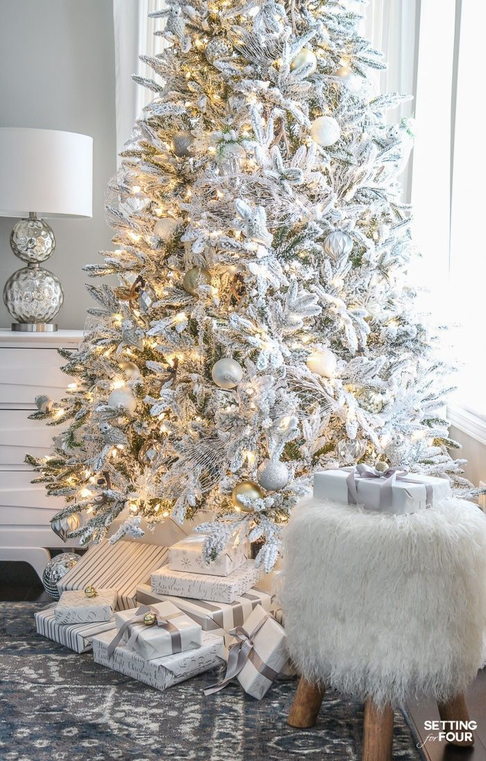 Looking for Christmas tree decorating inspiration? See my ELEGANT FLOCKED CHRISTMAS TREE - WHITE AND GOLD GLAM STYLE and my tree decor tips! #christmastreedecorideas #xmastreedecorations