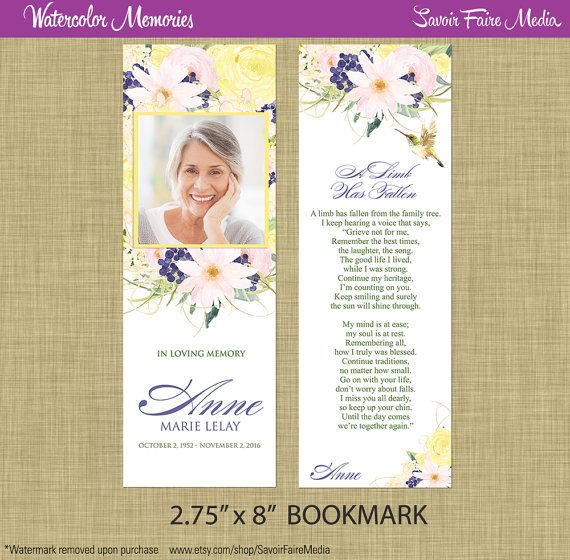 Funeral Memorial Bookmark and Prayer Card // Printable Watercolor Order of Service Program, Bookmark, Announcement Floral Flowers by sfmprintables
