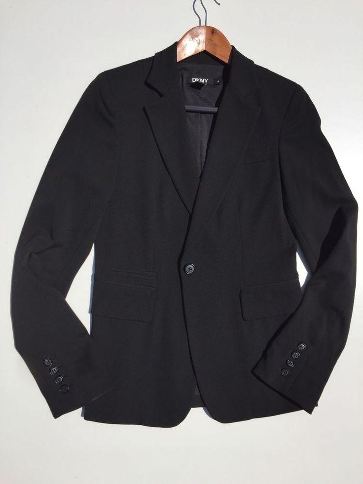 DKNY womens black blazer Bloomingdales career or casual size 6  #DKNY #Blazer #sale #career #size6