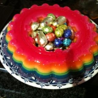 My Easter rainbow jelly dessert