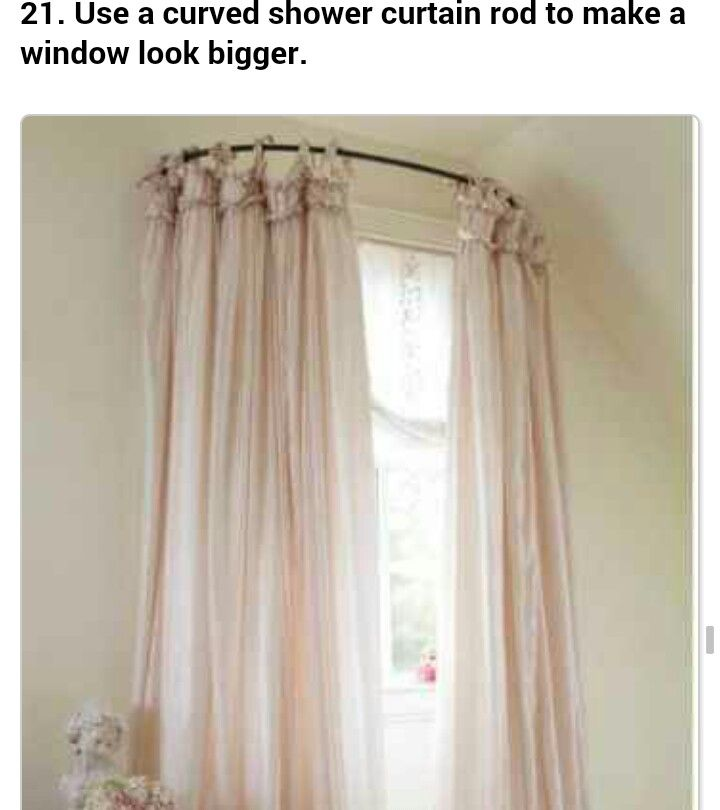 Round shower curtain rod makes bed room window look larger.   Love!