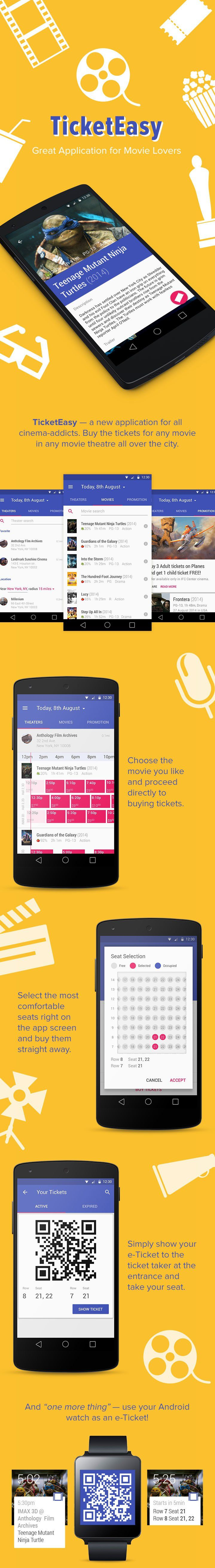 TicketEasy Android App ticket movie listing material design lollipop smartphone