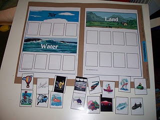 """file folder game for download. Aim is to categorise vehicles """"air"""", """"land"""" or """"water"""""""