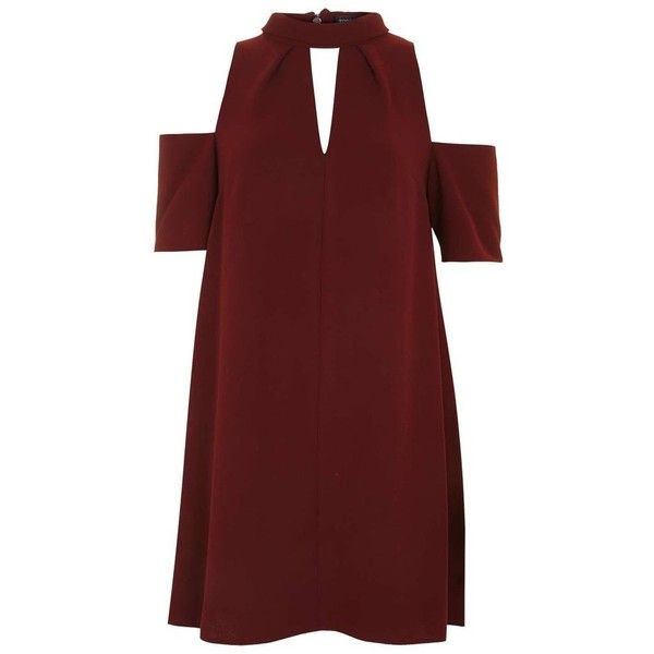 Women's Topshop Cold Shoulder Keyhole Dress found on Polyvore featuring dresses, tent dress, red cold shoulder dress, slimming dresses, cutout dresses and red dress