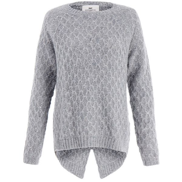 Day Birger Et Mikkelsen Grey Stitch Sequin Diamond Knit Jumper ($155) ❤ liked on Polyvore featuring tops, sweaters, grey, knit tops, 3/4 sleeve tops, grey jumper, knit sweater et stitch sweater