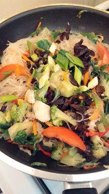 Vegetables Vermicelli Chicken Stirfried - during cooked - my homecooking