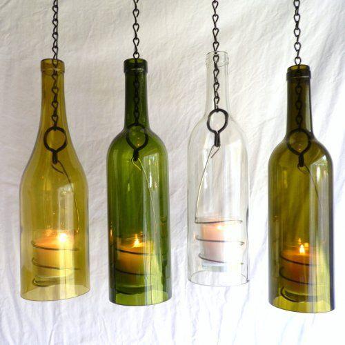 Glass Wine Bottle Candle Holder Hanging Hurricane Lantern Set of 4