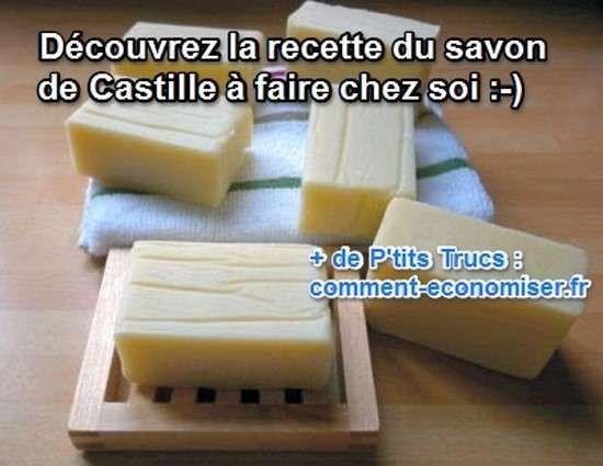 Ça vous dirait de faire du savon de Castille chez vous ? Et bien, voici une de mes recettes préférées de savon fait maison.  Découvrez l'astuce ici : http://www.comment-economiser.fr/recette-facile-savon-de-castille-maison.html?utm_content=buffer8fc6a&utm_medium=social&utm_source=pinterest.com&utm_campaign=buffer