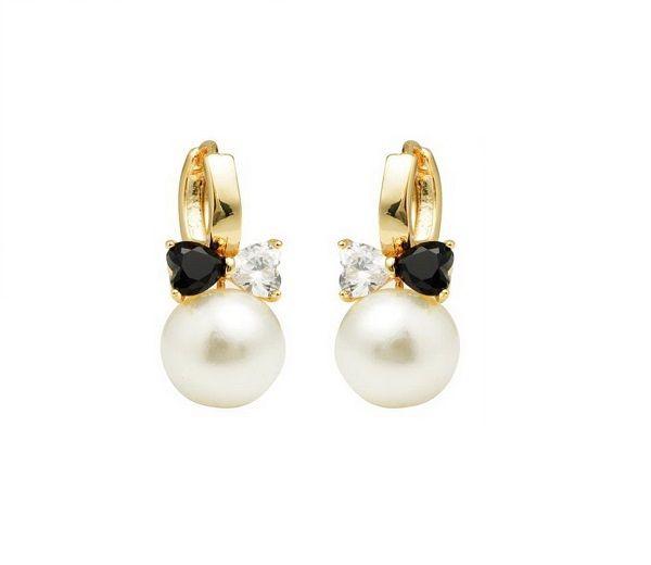 Cercei placati cu aur de 18 K, 2 microni, cu o perla de 10 mm si doua pietre zirconia negru si alb