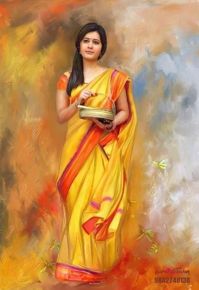 Rashi Khanna In 2021 Most Beautiful Paintings Indian Women Painting Beautiful Paintings