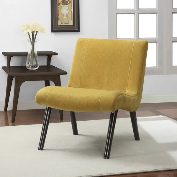 Quilted Mustard Yellow Upholstery Armless Chair By I Love Living