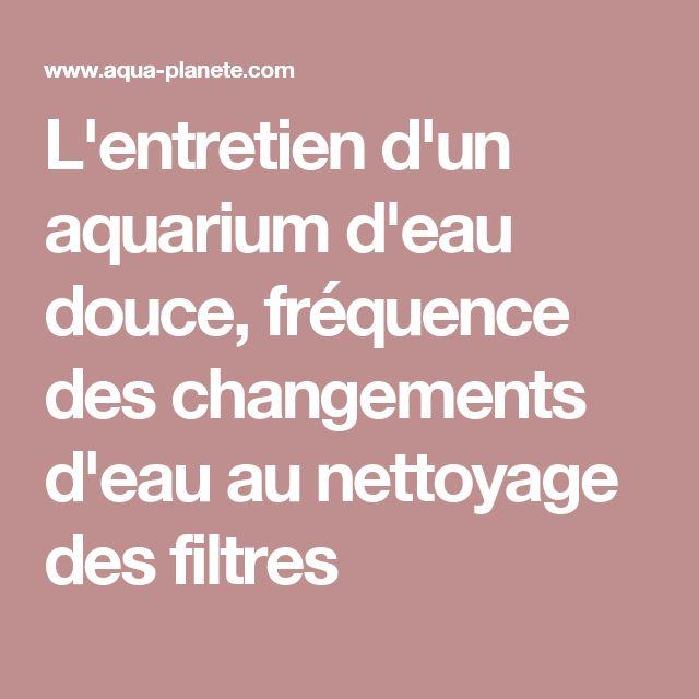 L'entretien d'un aquarium d'eau douce, fréquence des changements d'eau au nettoyage des filtres