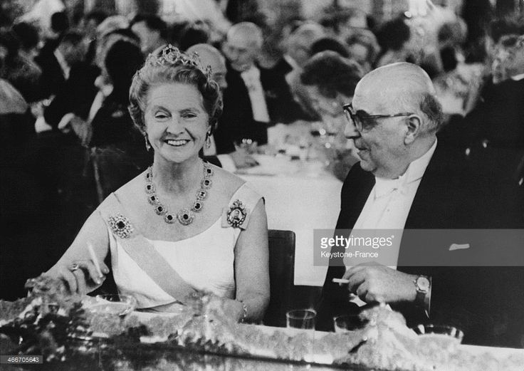 Princess Sibylla of Sweden and Greek Poet Giorgos Seferis, Literature Nobel Prize winner on December 12, 1963 in Stockholm, Sweden. (Photo by Gamma-Keystone via Getty Images)