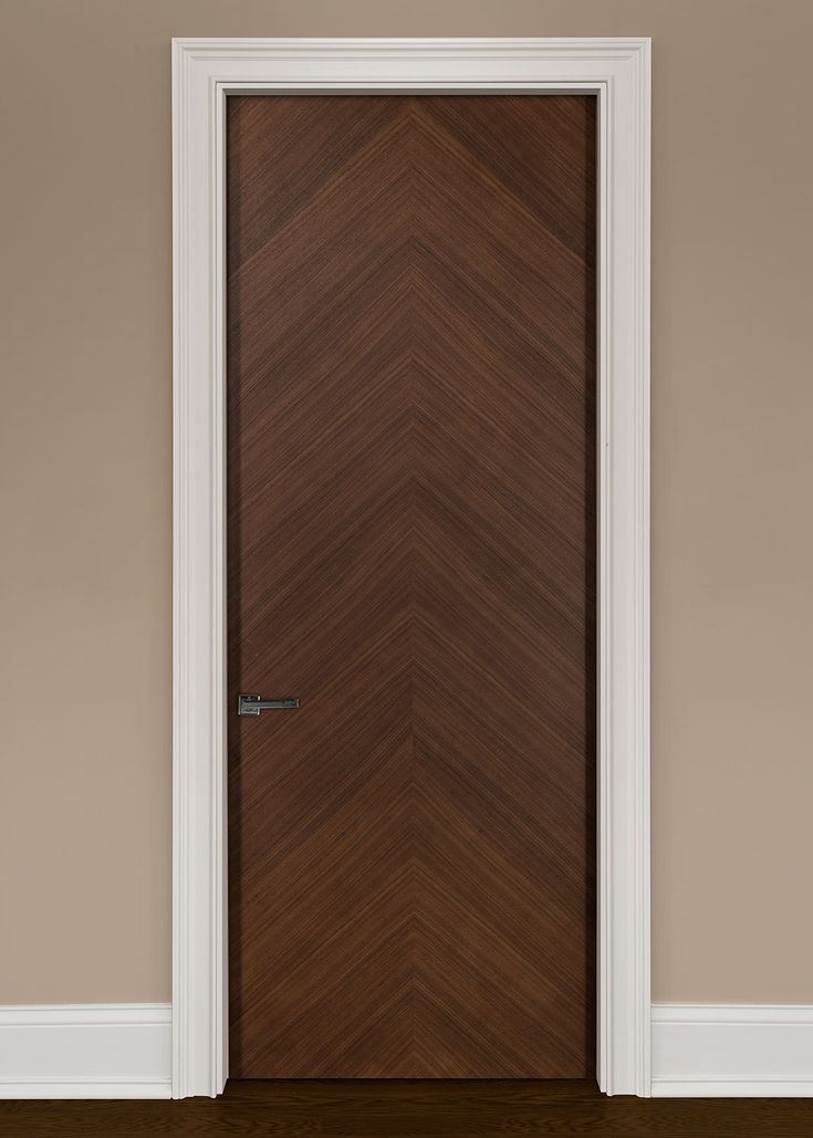 Modern Interior Custom Door Single Solid Core Modern Flush Interior Walnut  Wood Veneer Door In A Herringbone Pattern That Is Pre Hung And Prefinished  In A ...