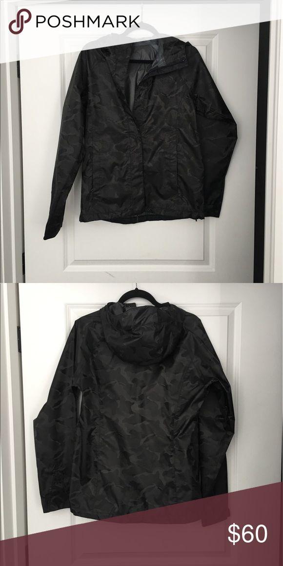 North face rain jacket Worn it once, rain jacket, slight camo print shading. The North Face Jackets & Coats