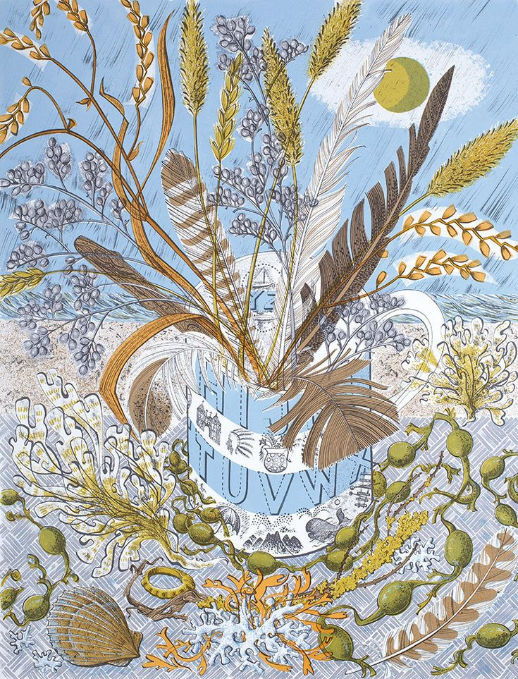 Shoreline by Angie Lewin, printmaking, design, lino, screen, feathers, nature, colour, ravilious mug, seaside, beach combing