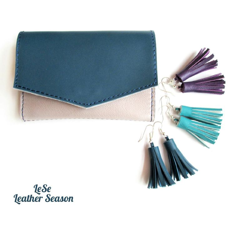 Blue and Beige Leather Wallet