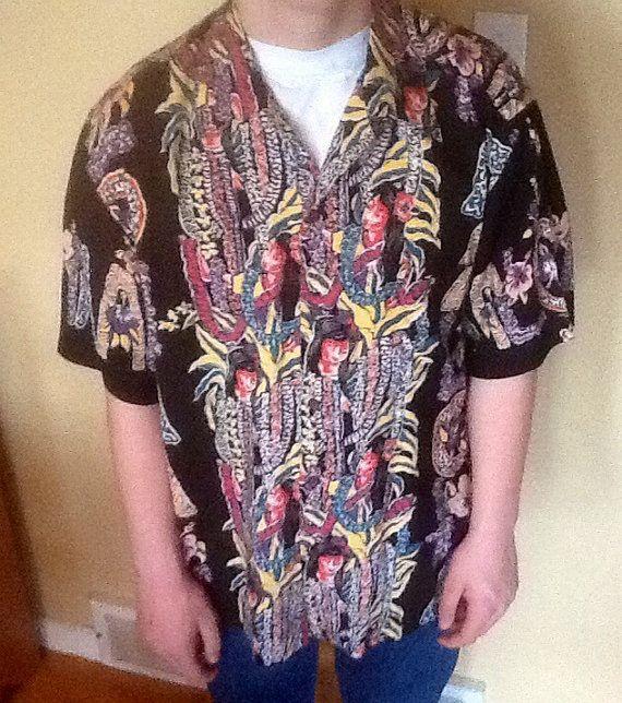 Hawaiian Shirt, Vintage Mens Hawaiian Print Shirt by Reyn Spooner